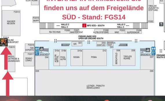 Vom 26. – 28.04 2017 ist Inline Bob Sports Systems auf der INTERALPIN in Innsbruck auf dem Freigelände SÜD – Stand_ FGS14